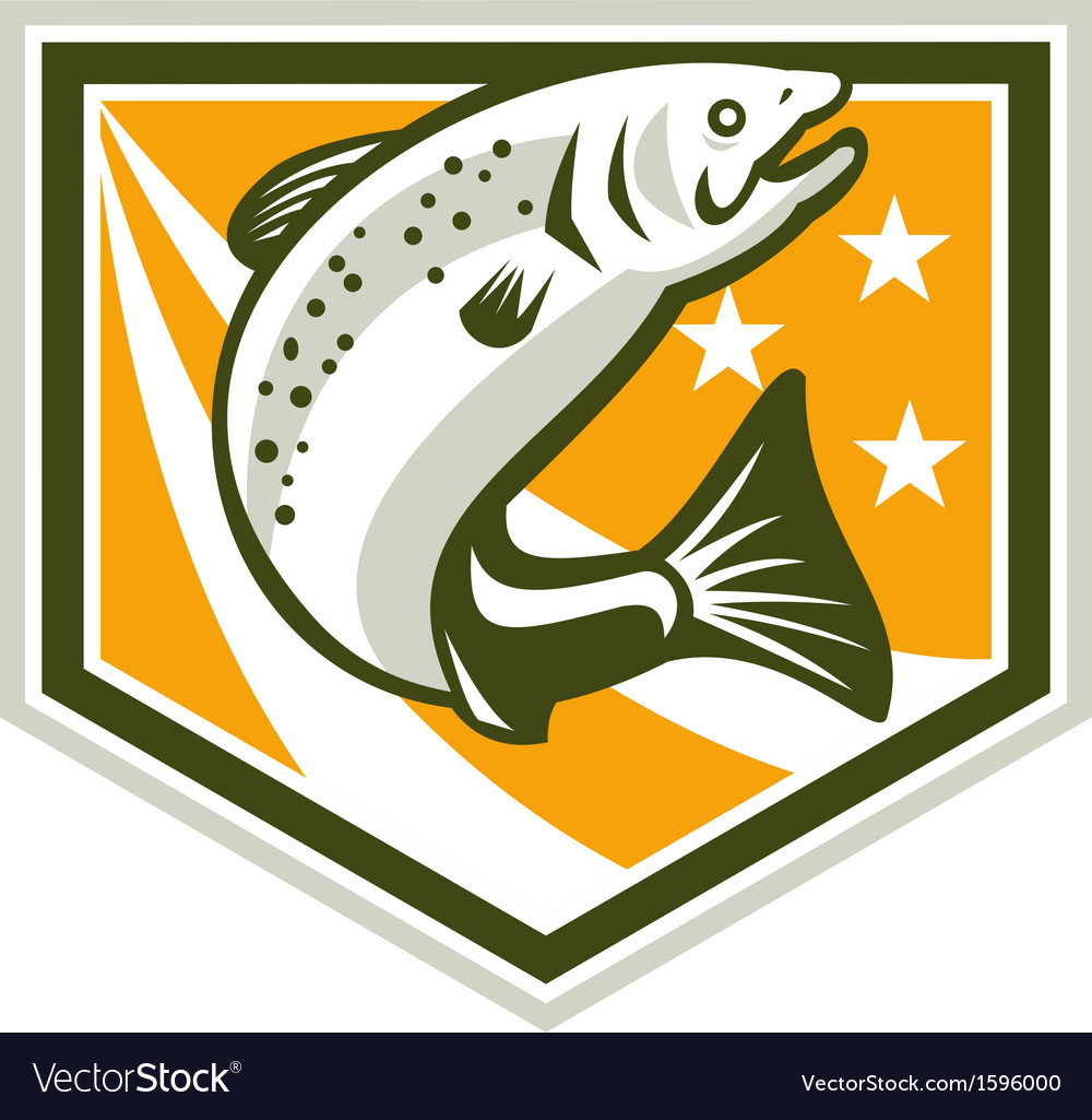 Trout jumping retro shield vector