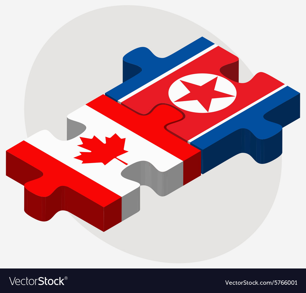 Canada and koreanorth flags vector