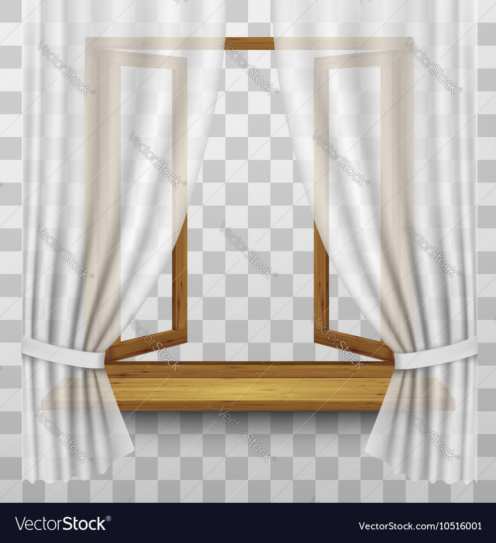 Wooden window frame with curtains on a transparent vector