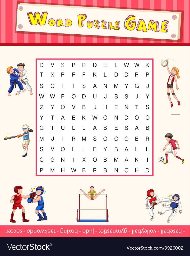 Game template with word puzzle about sports vector