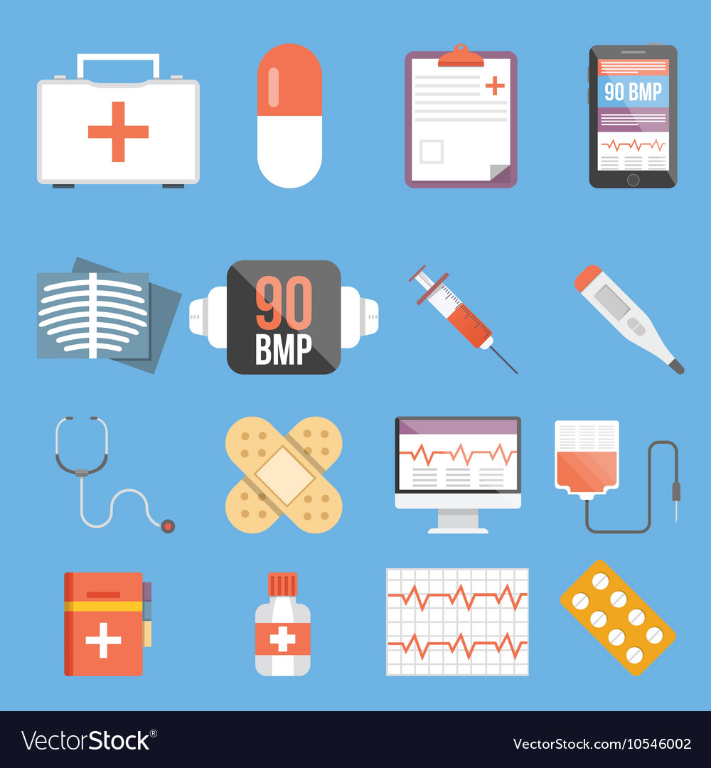 Healthcare and medicine flat concepts and flat vector