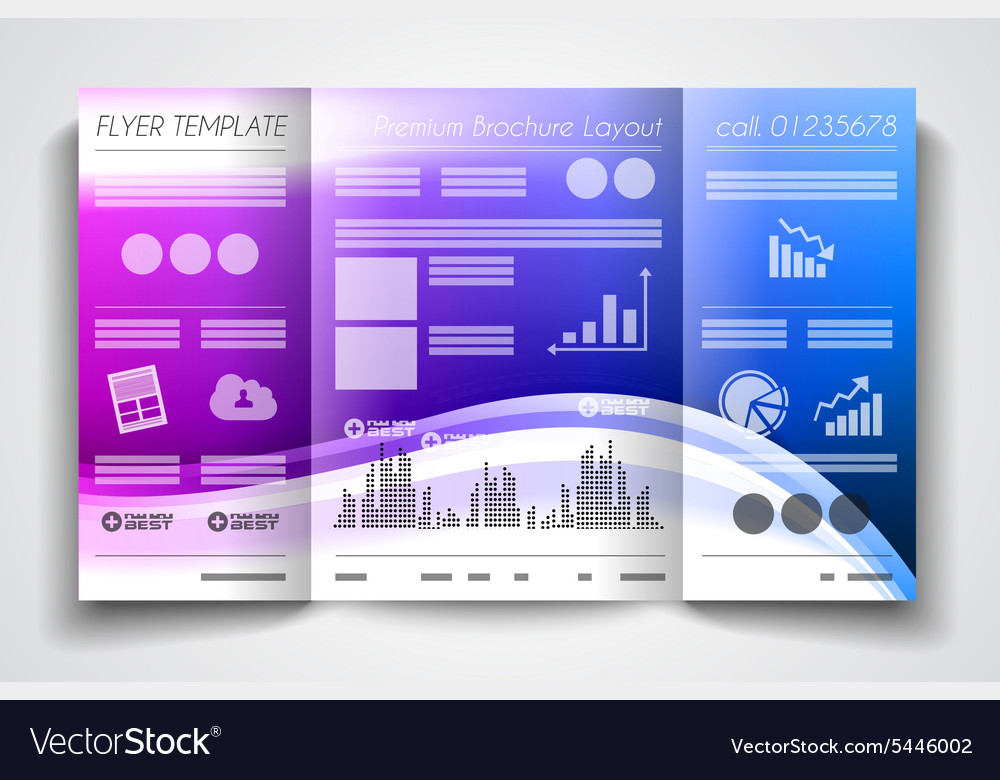 Tri fold brochure template design or flyer layout vector