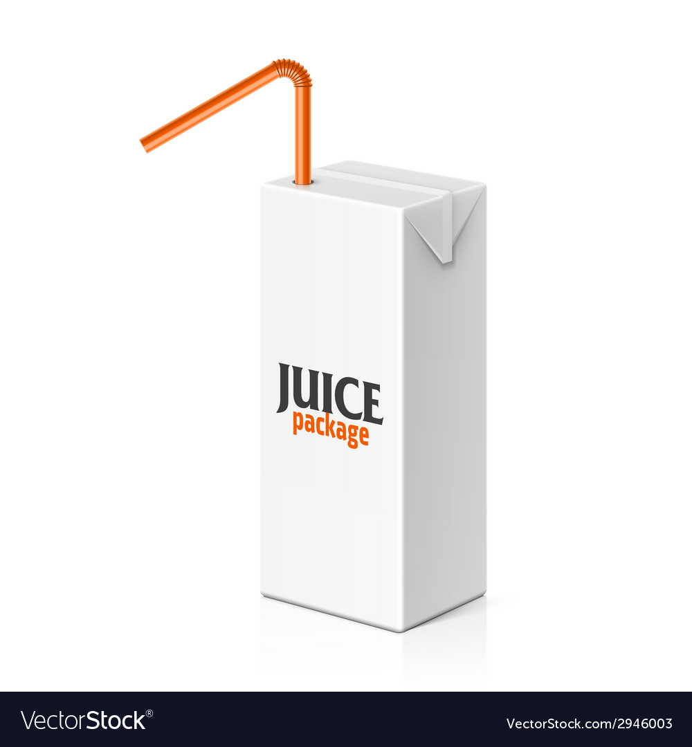 Juice box with drinking straw vector