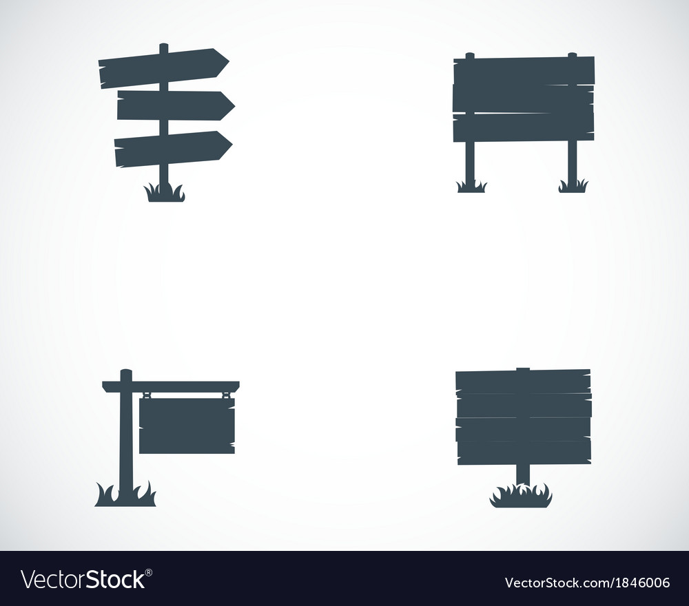 Black old wood sign set vector