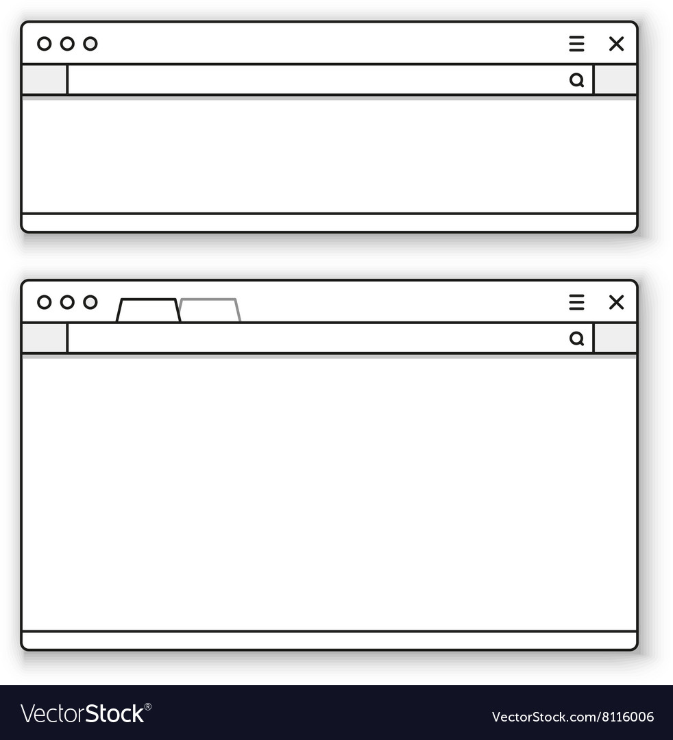 Opened browser window template vector