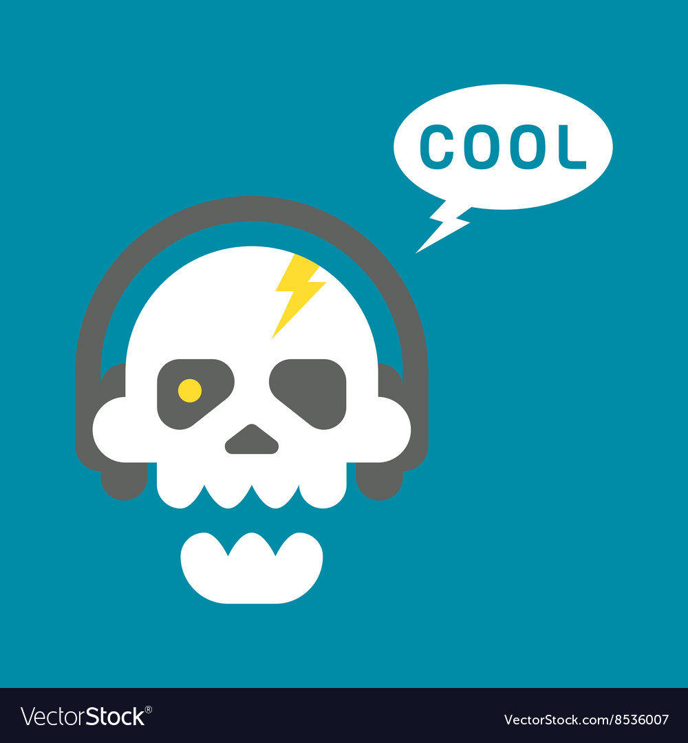 Flat design skull with headphones vector