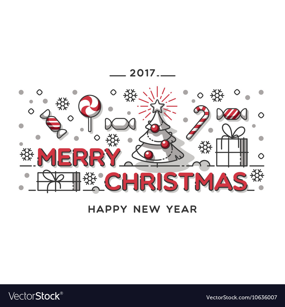 Merry christmas outline style design vector