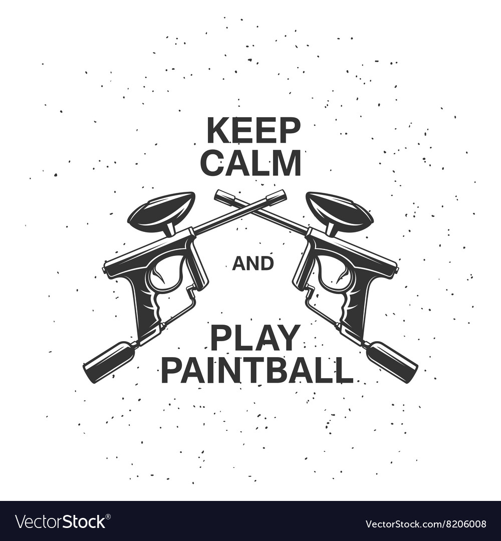 Paintball related poster with two crossed guns and vector