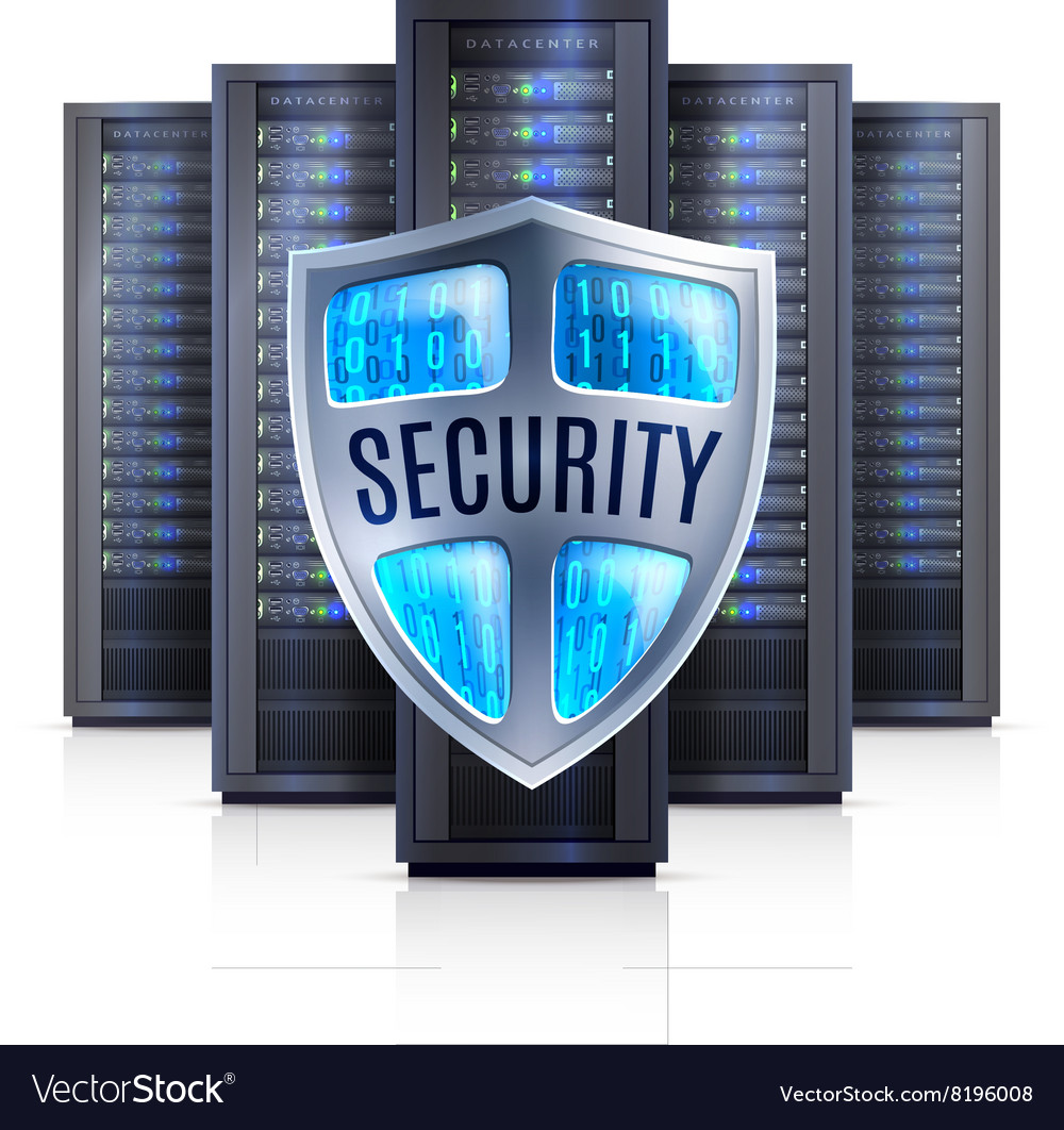 Server rack security shield realistic vector