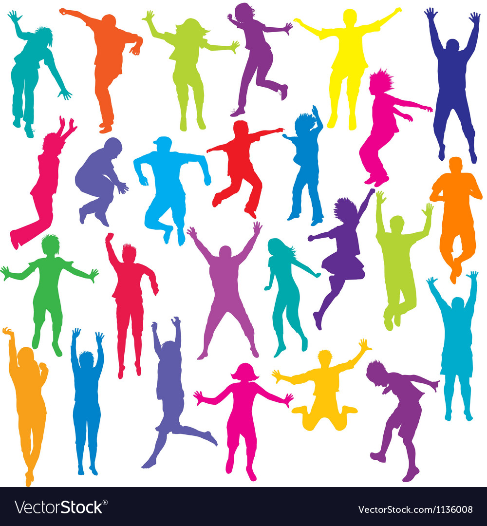 Set of colored people and children silhouettes vector