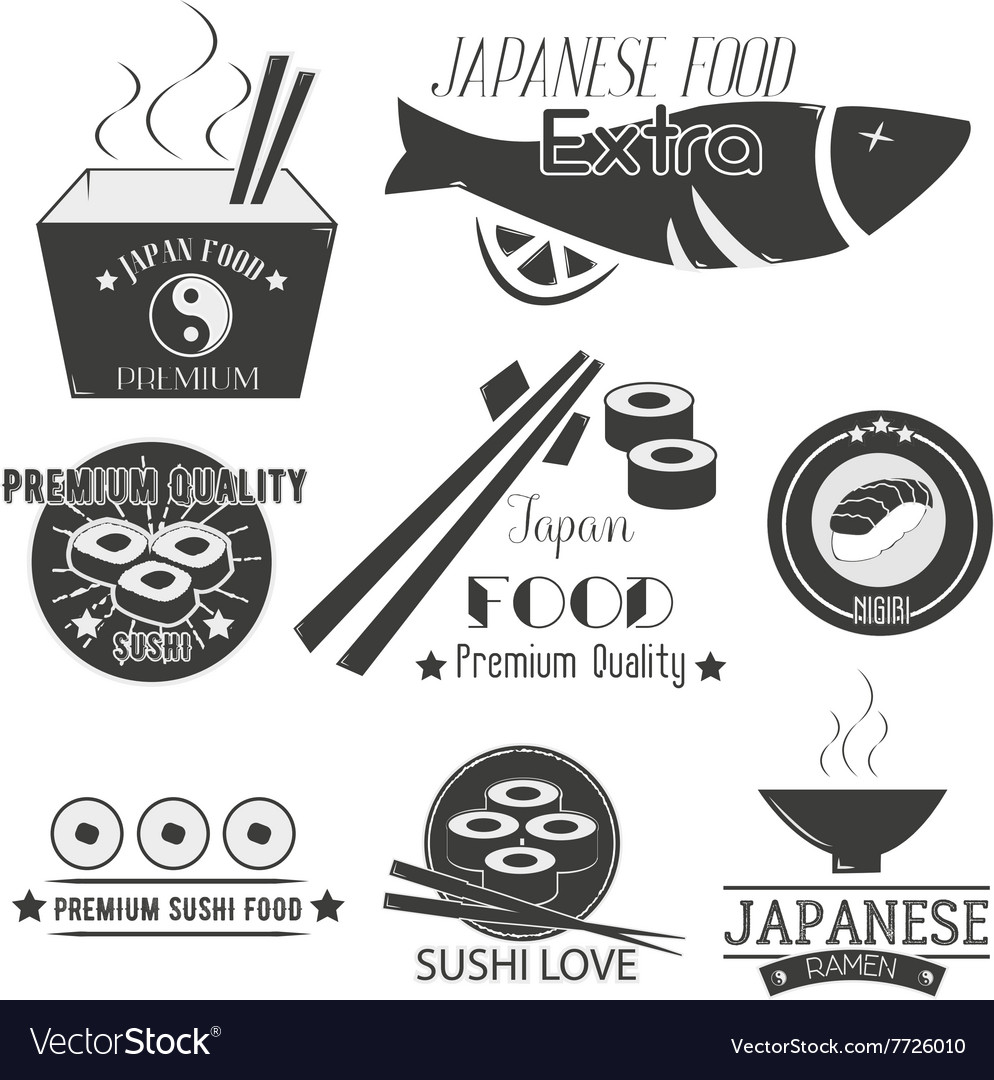 Set of sushi labels japanese food vector