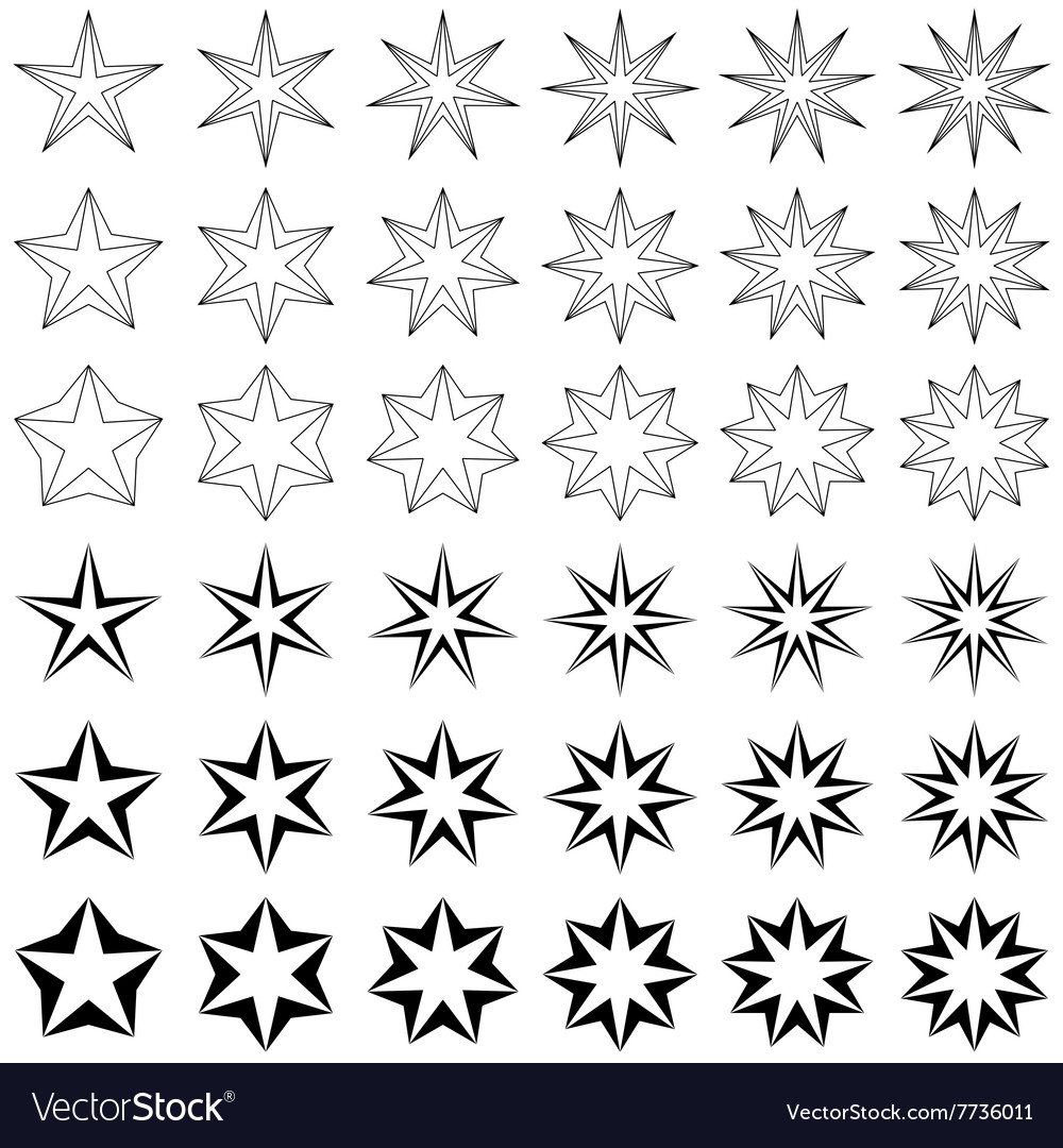 Black star shape set vector