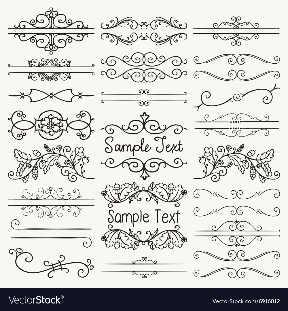 Black hand drawn dividers text frames vector