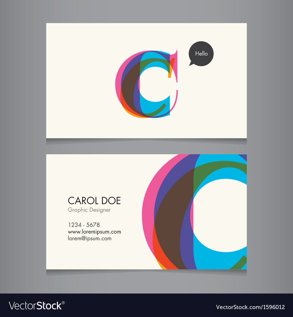 Business card template letter c vector