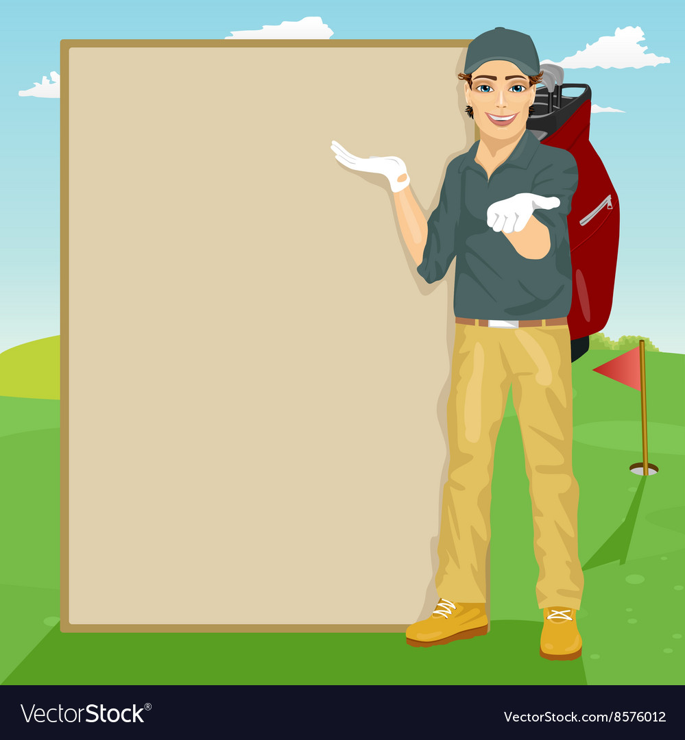 Golfer showing something on blank board vector
