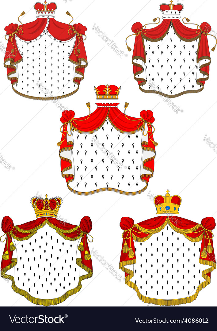 Heraldic red royal mantles set vector