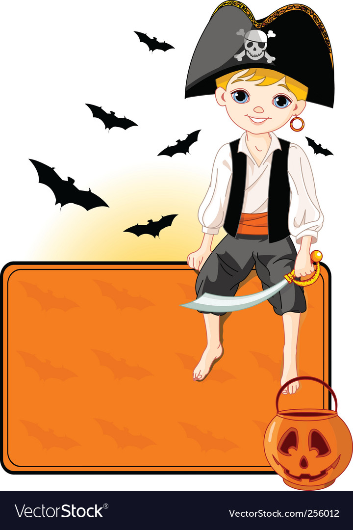 Little halloween pirate place card vector