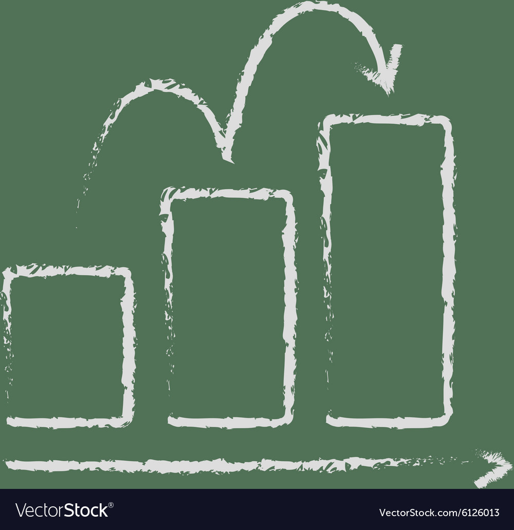 Bar chart upward icon drawn in chalk vector