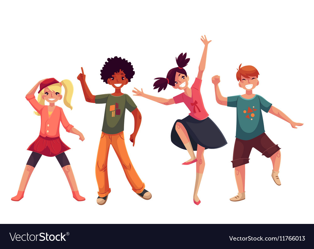 Little kids dancing expressively cartoon style vector
