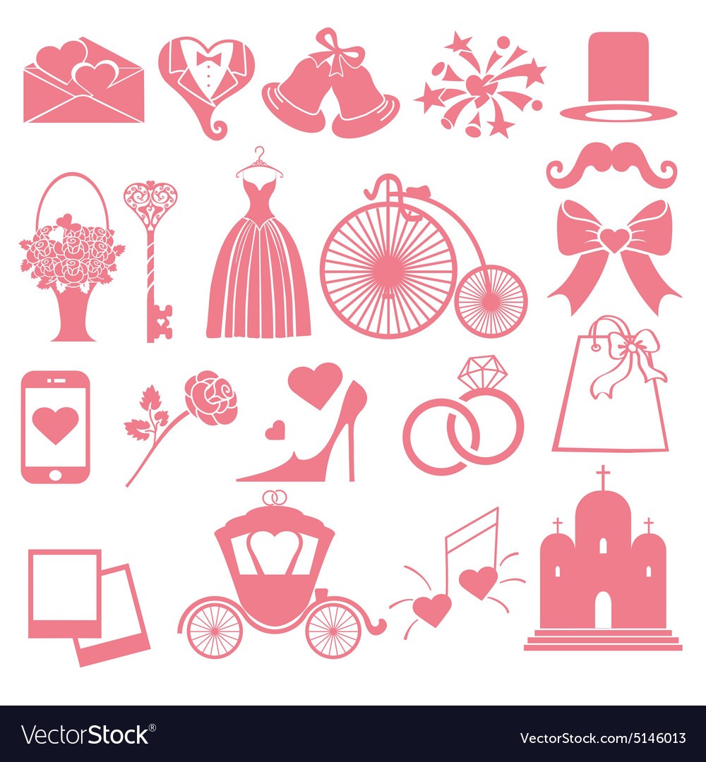 Wedding flat icons set for web and mobile vector
