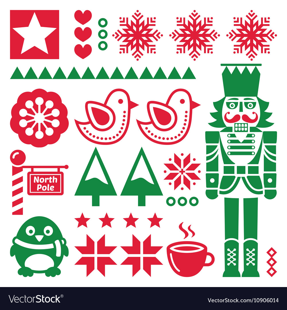 Christmas red and pattern with nutcracker  folk vector