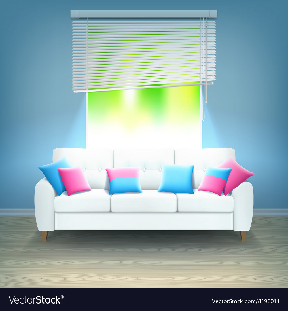 Interior sofa neon light realistic vector