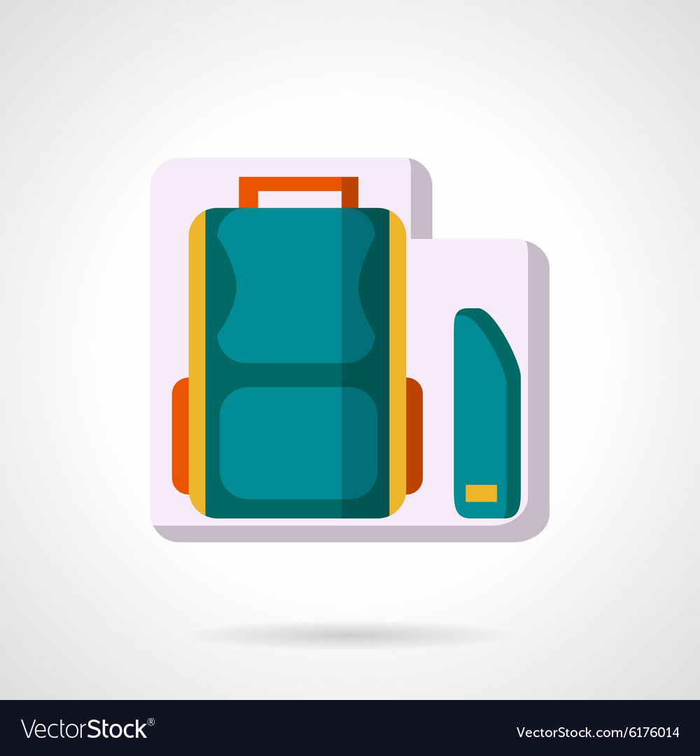 School bag and pencil box flat icon vector