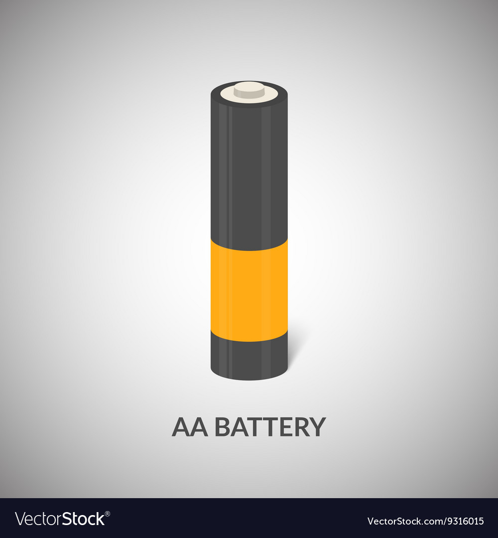 Aa battery icon isolated cylinder aa vector