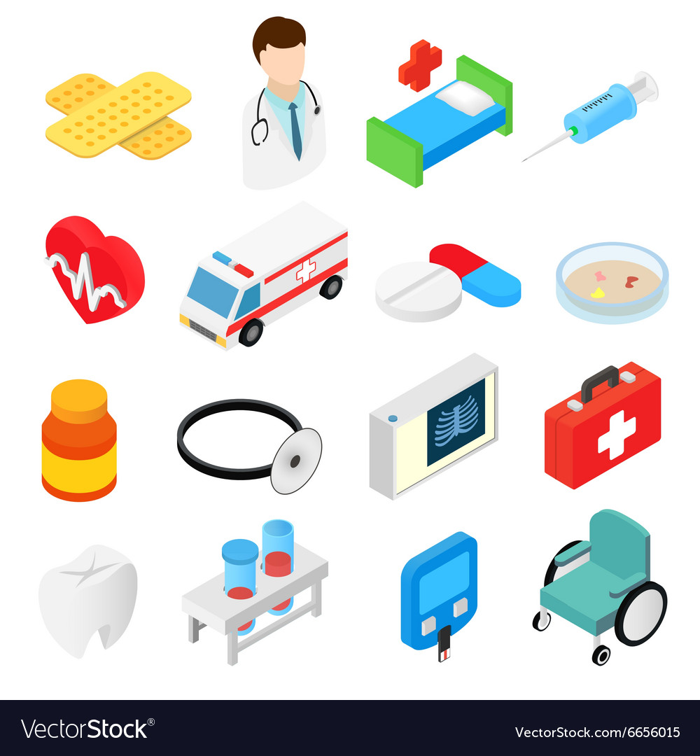 Medical isometric 3d symbols collection vector