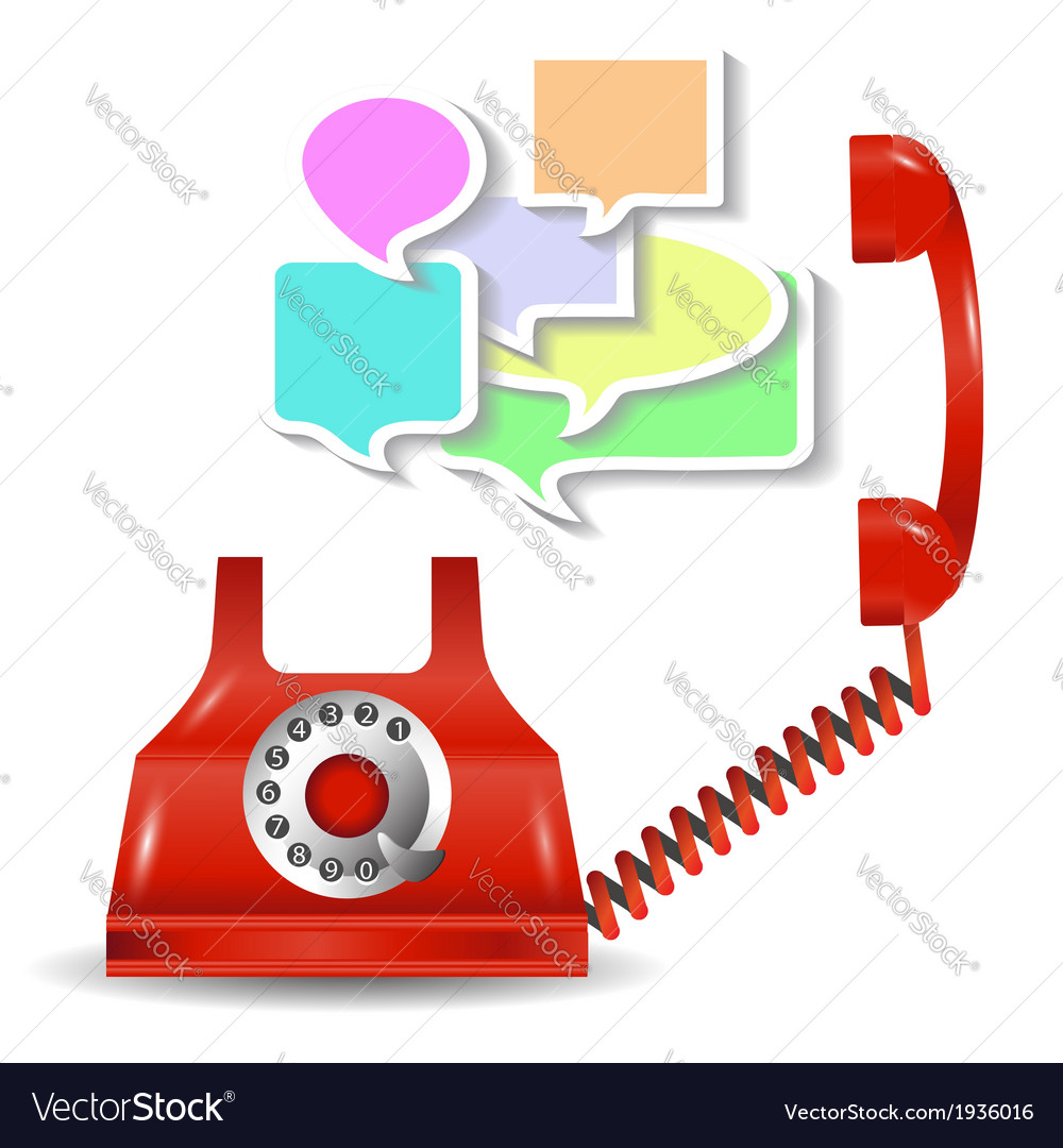 Red telephone and speech bubbles vector