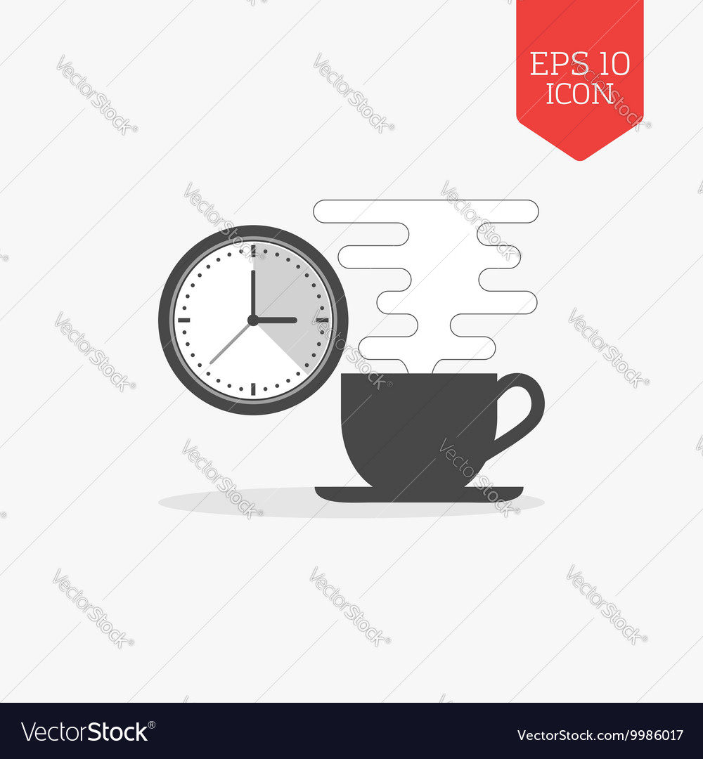 Coffee cup and clock icon break time concept flat vector