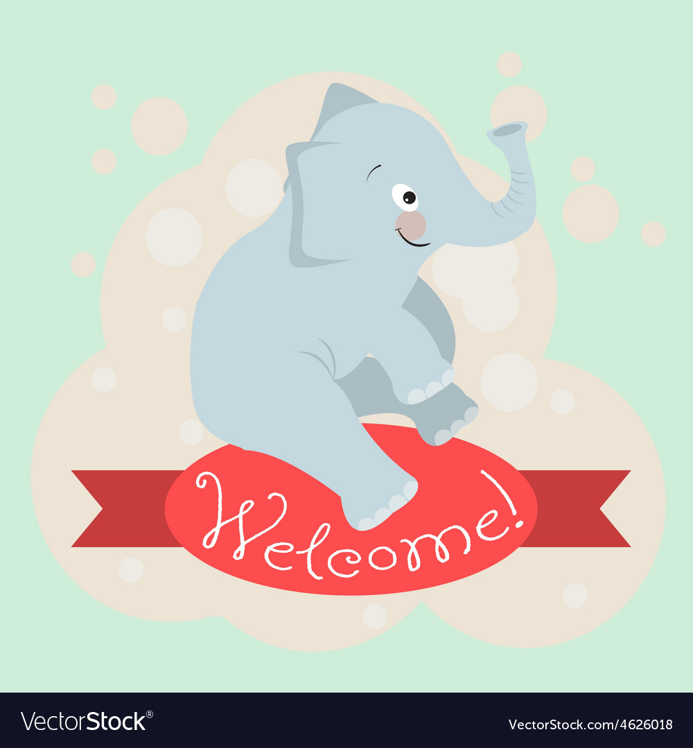 Card with the inscription on the tape welcome and vector