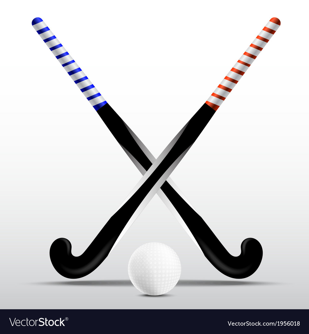 Two sticks for field hockey and ball vector