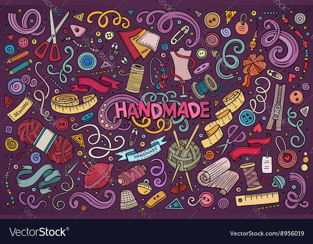 Doodle cartoon set of handmade object vector