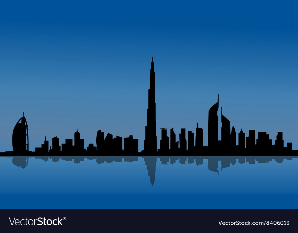 Silhouette of dubai and reflections vector