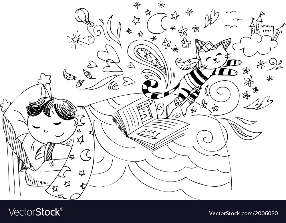 Child in bed dreaming fairy tales vector