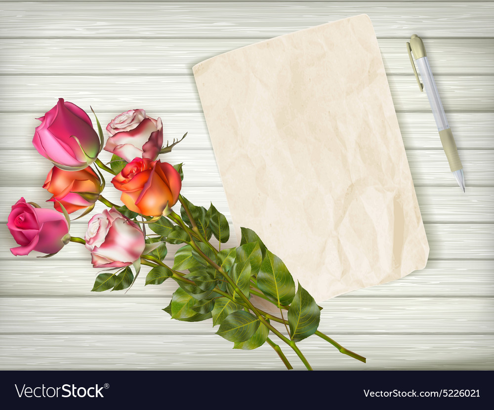 Blank greeting card over wooden table eps 10 vector