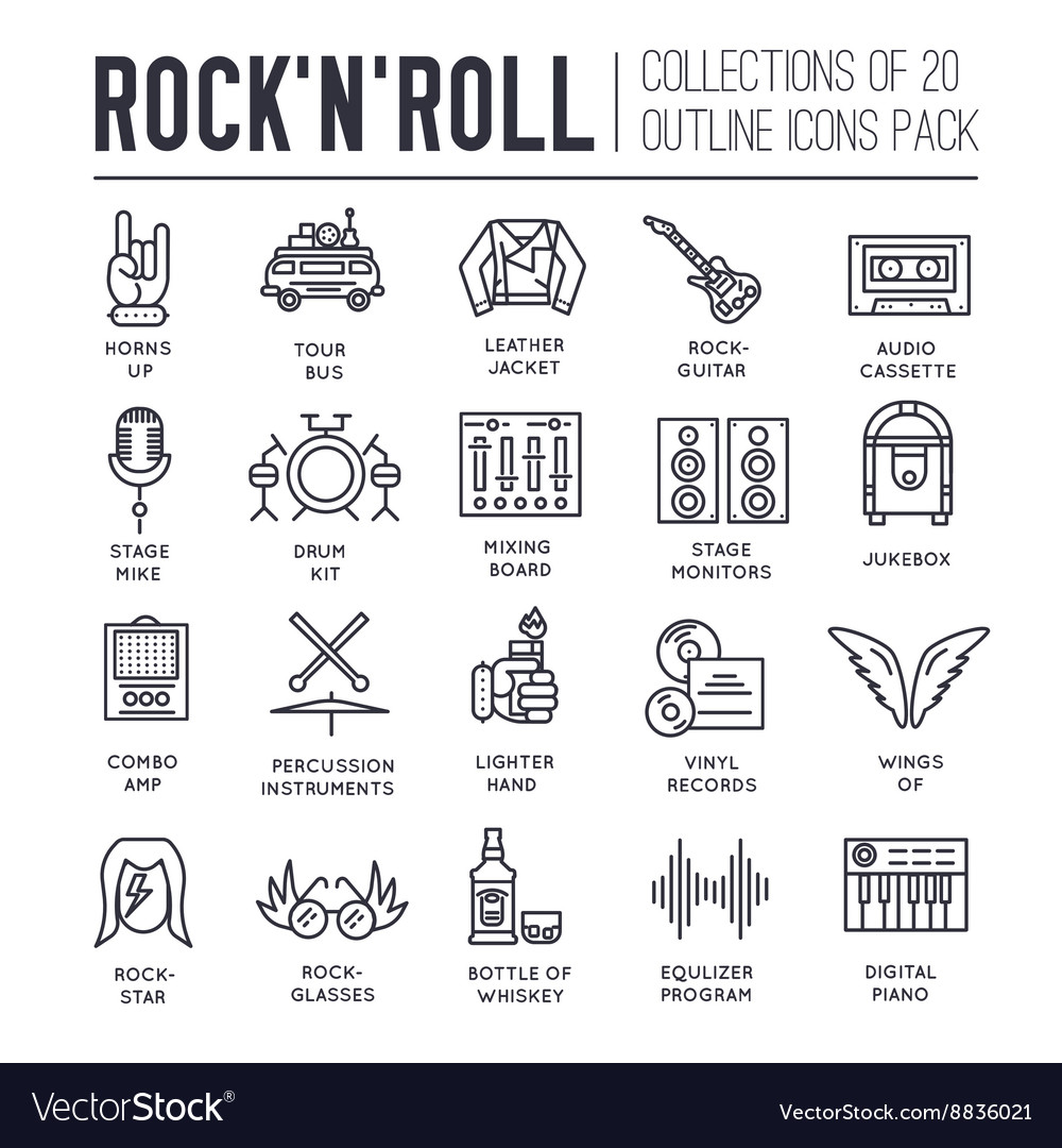 Rock n roll circle outline icons collection set vector