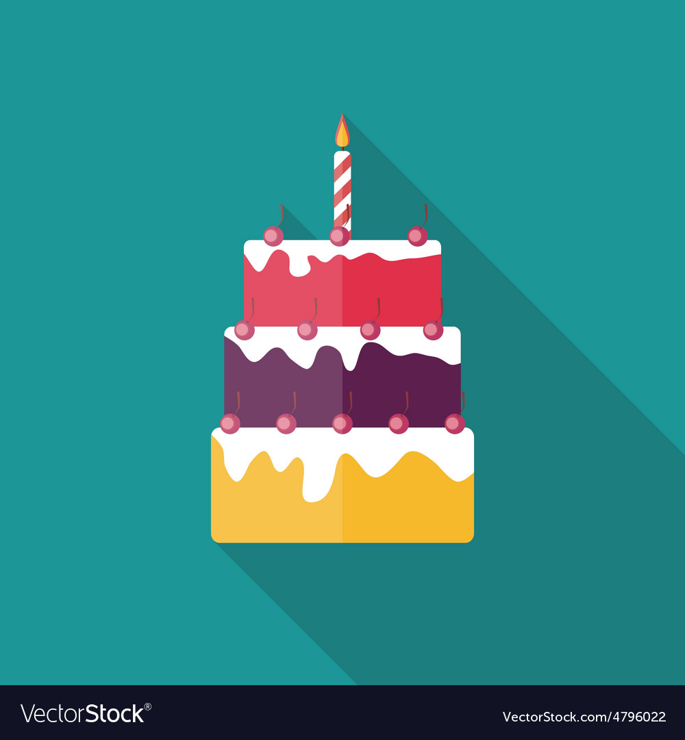 Birthday cake flat icon with long shadow vector