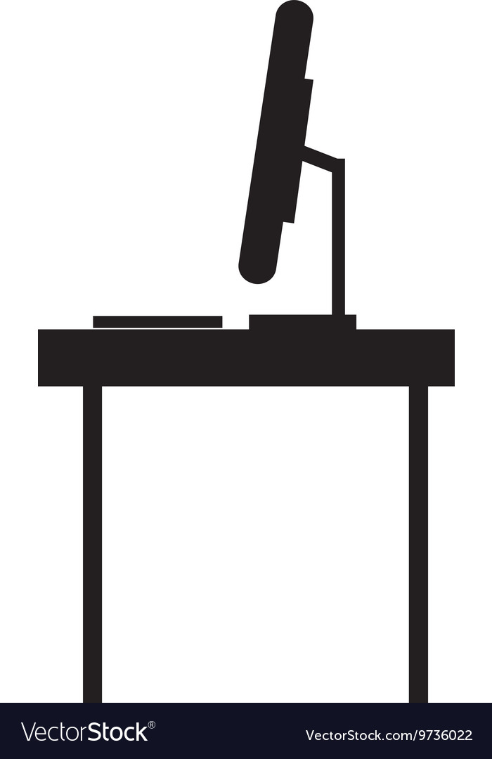 Desk with computer profile icon vector