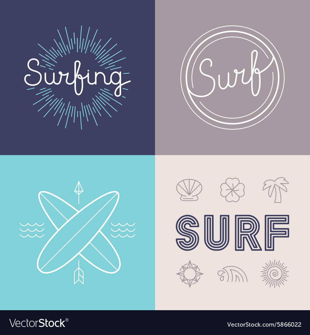 Set of surfing logo design templates vector