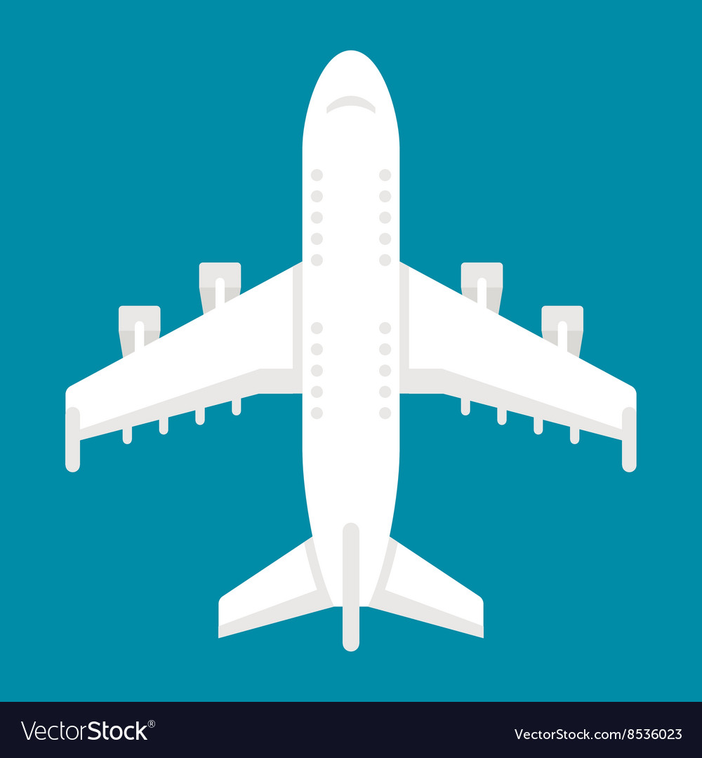 Flat design airplane top view vector