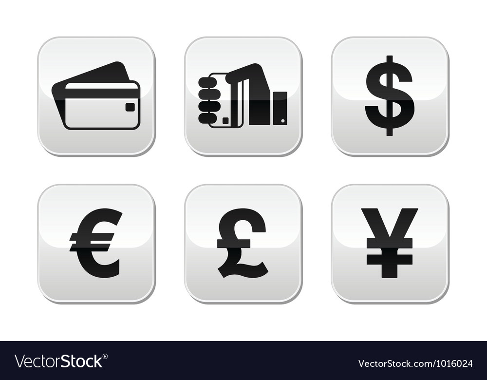 Payment methods buttons set  credit card by cash vector