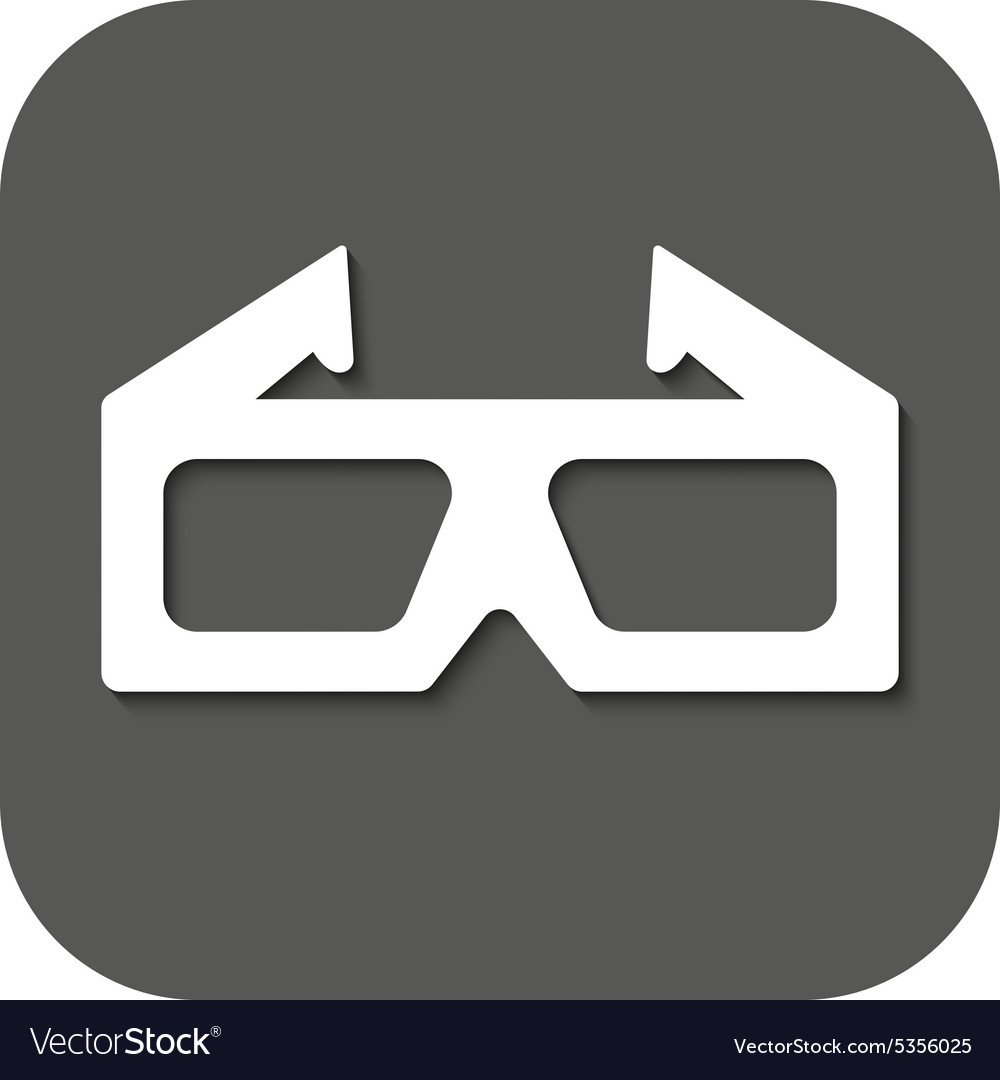 3d movie icon 3d glasses symbol flat vector