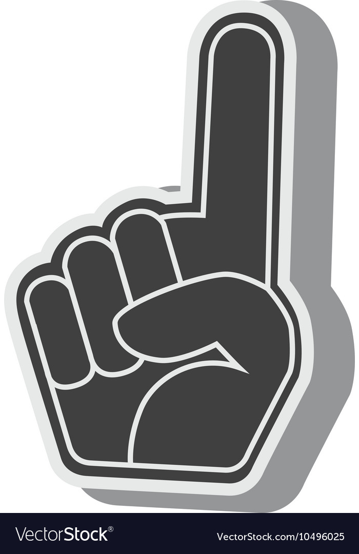 Silhouette hand foam finger red isolated vector