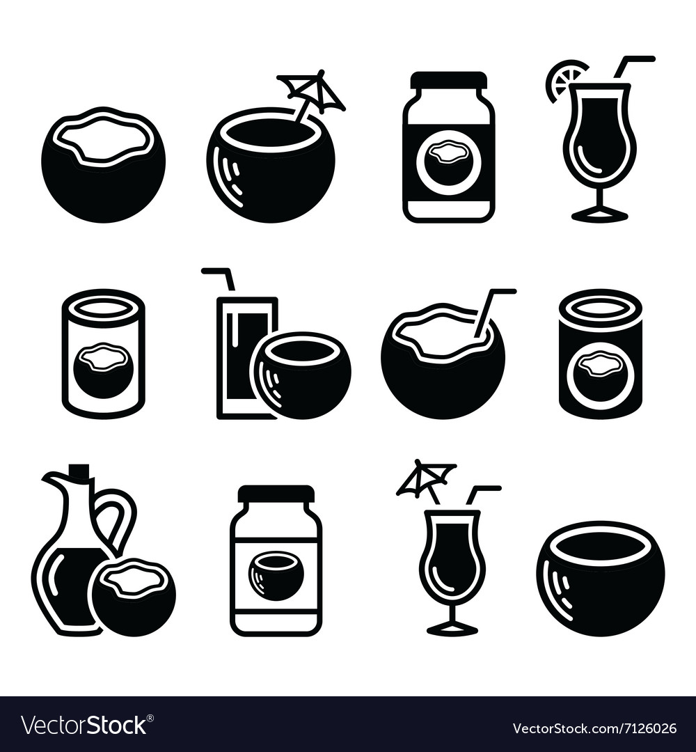 Coconut milk oil cocktail  icons set vector