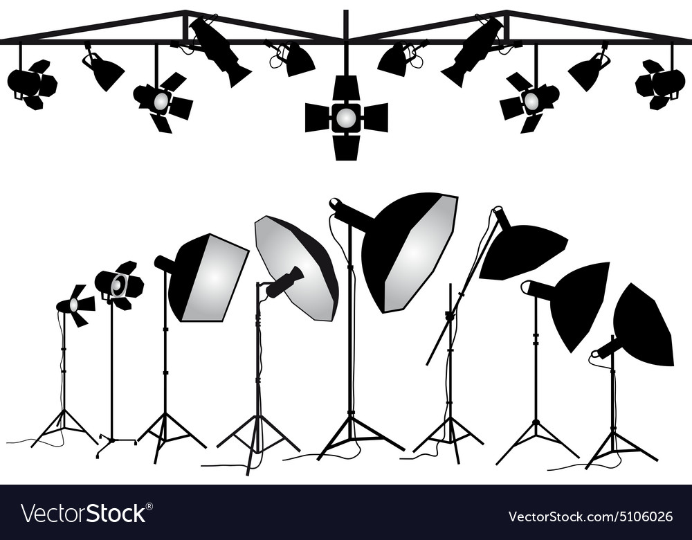 Photography lighting equipment set vector