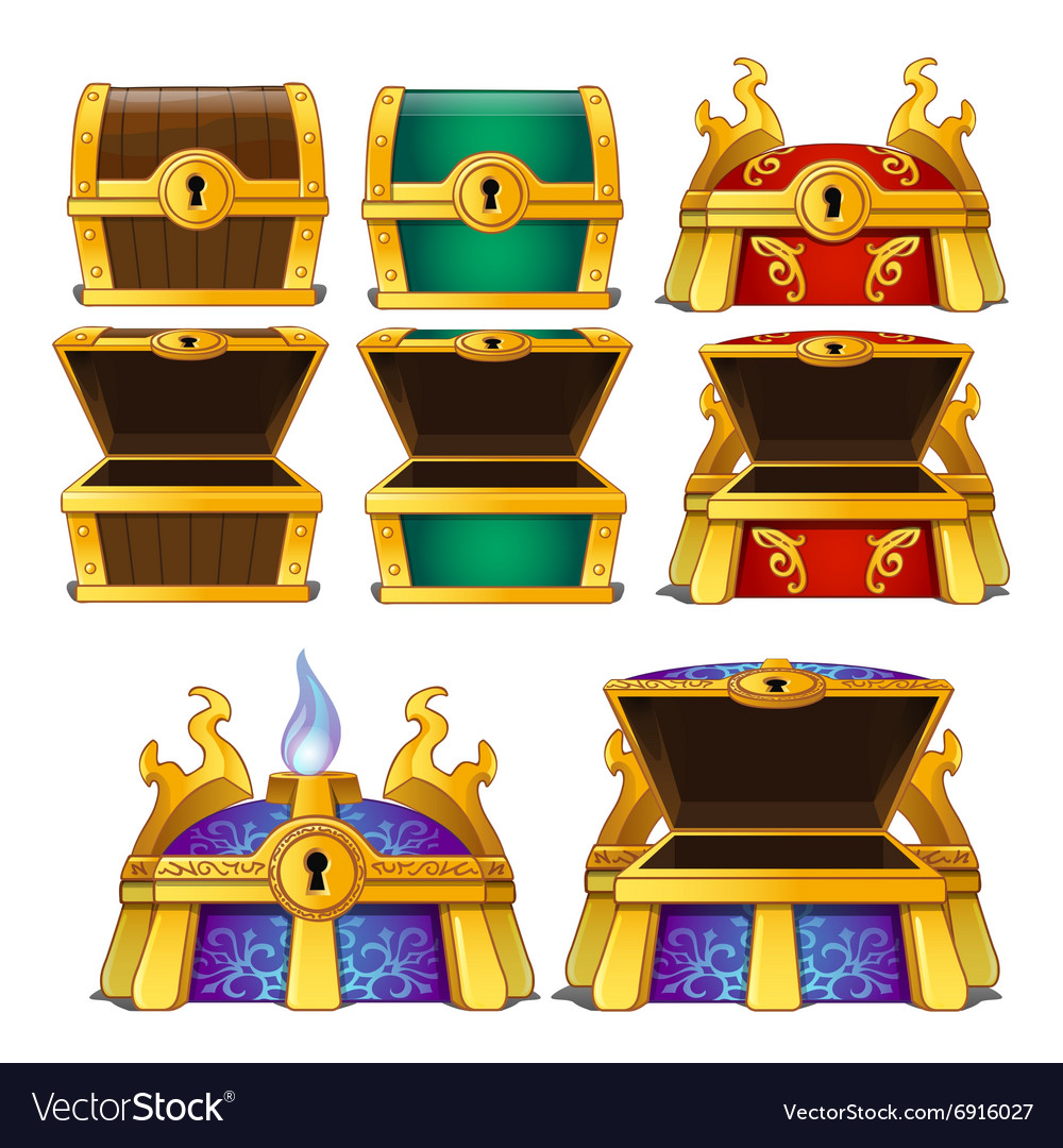 Set of wooden chests of different colors vector