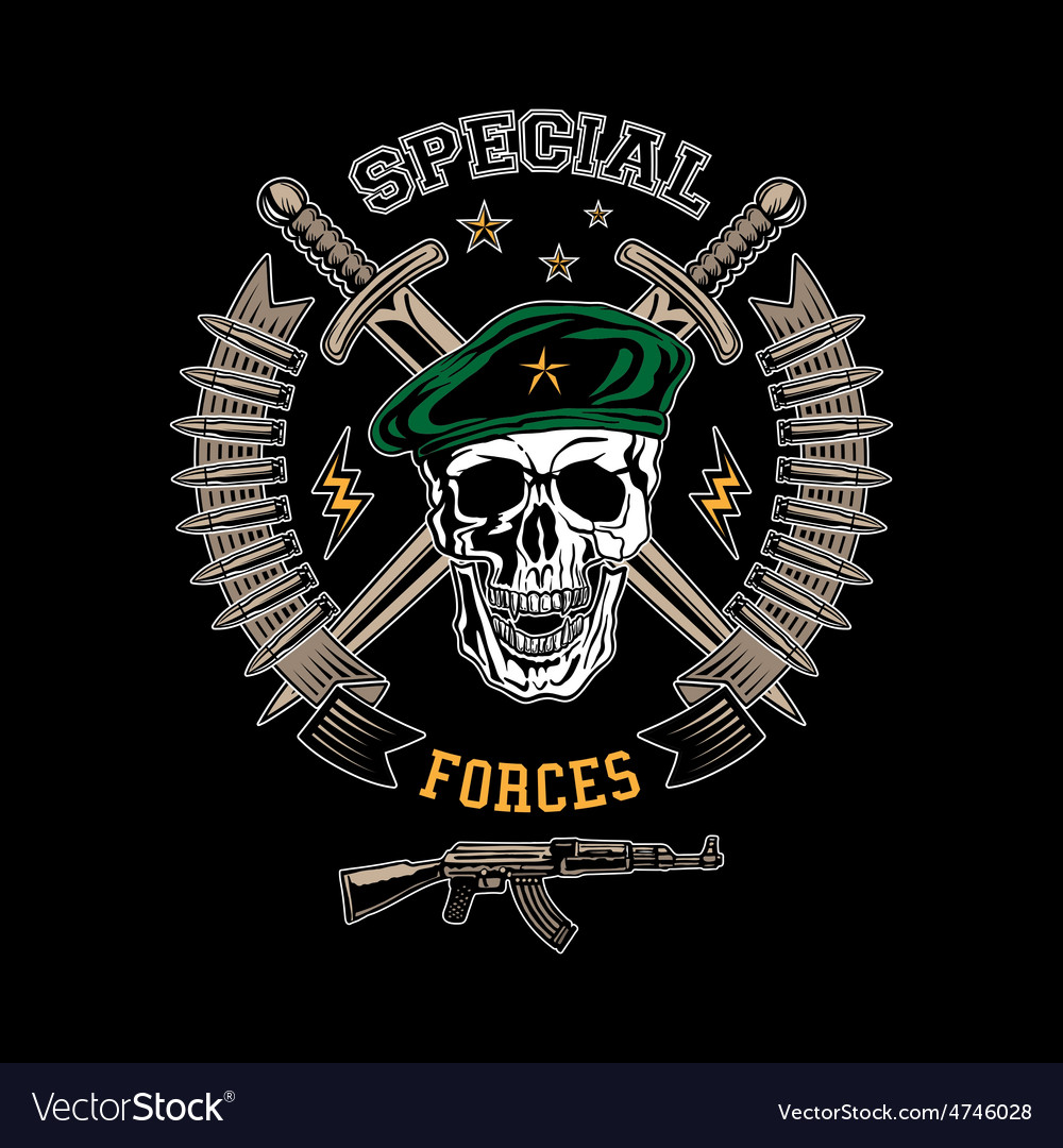 Skull spesial force 01 vector
