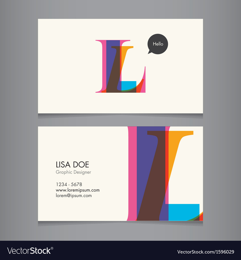 Business card template letter l vector